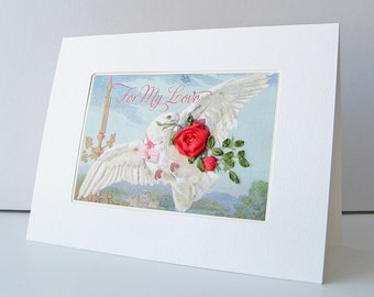 Valentine's Day card, romantic Valentine, To My Love card, embroidered card, card with red rose, white dove card