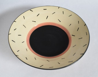 Handmade Pottery Bowl. Modern ceramic bowl. Memphis design flared bowl. Handmade Ceramic Serving Dish, Foodsafe. Made in Canada.