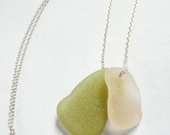 Rare Pink and Olive Green Beach Glass Necklace