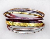 HARVEST SALE Handcrafted Bangle Set - 'Midas' - Toned Enamel Bracelets