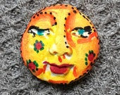 small Handmade clay face  large round jewelry craft supplies    handmade cabochon   faces   polymer
