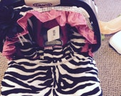 Soft Zebra with satin ruffles Replacement  Infant Car Seat Cover set  with free belt and buckle covers,boot/muff..