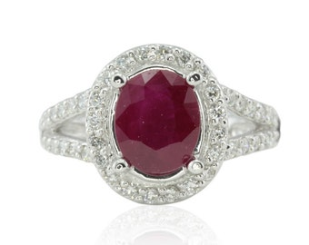 Ruby Engagement Ring, Oval Ruby Ring with Diamond Halo and Split Shank - July Birthstone - Agatha Collection - LS2056