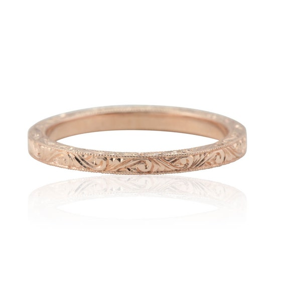Rose Gold Wedding Band - Hand Engraved Ring with Antique Scroll Motif and Milgrain - LS1813