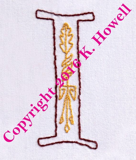 I hand embroidery pattern medieval letter monogram font