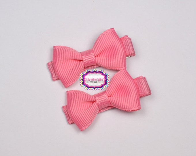 Mini Hair Bows ~ Rose Pink Hair Bow Set of 2 Small Hairbows - Girls Bows - Clippies - Baby Hair Bows ~ No Slip Grip always added