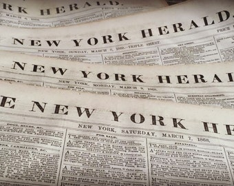 1800's New York Newspaper Lot 4pc Historical Shabby Antique Ancestry