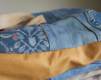 SALE///JOSEPHINE Traveler In Retro Textile, 70's Faded Denim, and Multi Colored Leather