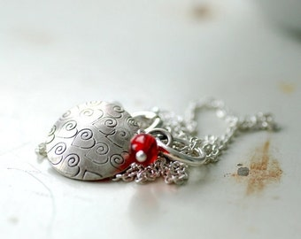 Silver Necklace, Stamped Heart Pendant, Pendant Necklace, Metalwork Pendant, Whimsical Necklace, Gift for Her, Valentine