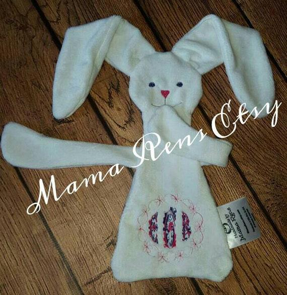 Custom designed Bunny lovey Wrap scrap Monogram