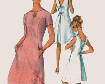 1960s MOD A Line Dress Princess Seams Inverted Back Pleat Low Back V Simplicity 6434 Vintage 60s Sewing Pattern Size 14 Bust 34