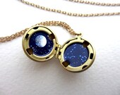 Constellation Locket, Truly Hand-Painted Enamel Necklace, Personalized Astrology Sign