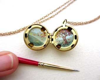 Original Tiny Painted Locket, Warm Nature Colors, Meditative Tree Landscape