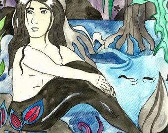 Original Illustration Merman Aaron Watercolor Merman Painting Mermaid Illustration Nursery Art Mermaid Fantasy Art for Kids Whimsical Art