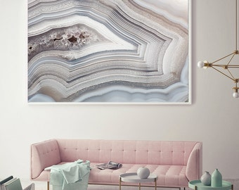 Mineral Photography - (Print # 051) White and light Blue Agate   - Fine Art Print - Two Paper Choices- Mineral Geode Agate Crystal Decor