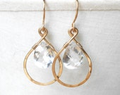 Hammered Gold Hoops with Crystal Quartz  Briolettes, Gold Fill Drop Earrings