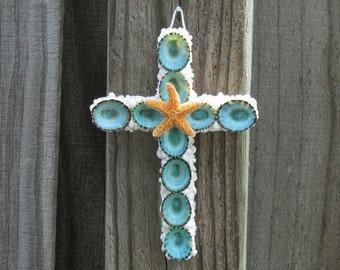 Shell Cross, Ornament, Wall Hanging, Aqua Crucifix, Coastal Decor, Christmas Tree Decor, Starfish Cross,Seashell Cross