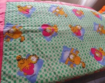"Handmade Blanket 36"" x 44"" Toddler Bed Crib Lap Sofa Throw GARFIELD Cotton"