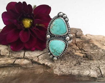 Double Carico Lake Turquoise Cabochon Sterling Silver Ring, size 7, rustic, artisan, metalwork, handmade, Boho, Bohemian, Gypsy, Cowgirl