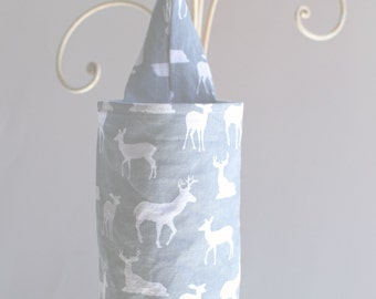 Fabric Plastic Grocery Bag Holder Deer Silhouette Cool Grey