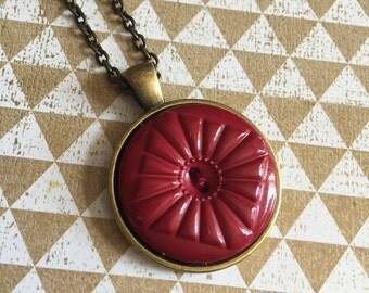 Burgundy Button Pendant Necklace