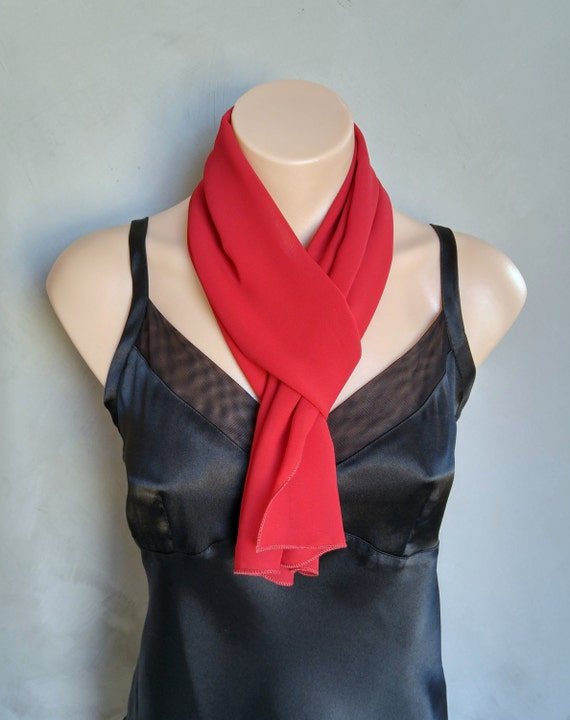Red Chiffon Scarf - Perfect Summer Skinny Scarf - 56 inches long by 12 inches wide