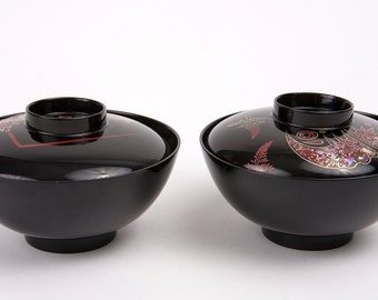 Japanese Laquer Bowl Set with Abalone Shell