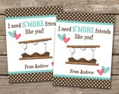 PRINTABLE - Kids Valentine Day Cards - Smores - 3.5 x 4.5 - Personalized