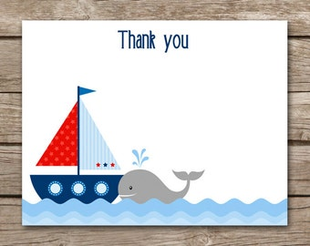 Sailboat Thank You Cards - Nautical - Boat - Ship - Ships Ahoy - Birthday - Boy - INSTANT DOWNLOAD