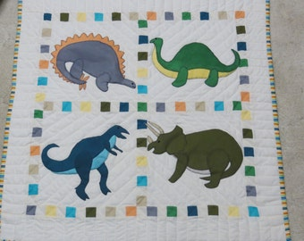 Quilt, Handmade Quilt, Art Quilt, Handquilted Quilt, Wall Hanging, Dinosaurs, Child's Quilt, Children Wall Hanging
