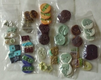 Lot of Orphan Buttons - Handmade Ceramic Buttons