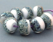 Boro Beads - Lampwork Glass - White with Dark Blue and Green