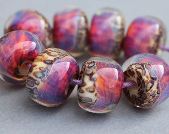 Boro Glass Lampwork Beads Pink and Army Green Spots