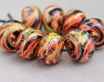 Borosilicate Beads - Light Red, Root Beer, Wisps of Purple and Tan