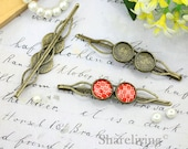 10pcs Antique Bronze UNIQUE Hair Clips, Bobby Pin Barrette with Two 12mm Cameo Setting HA222