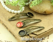20% OFF SALE - 10pcs 48mm Antique  Bronze Hair Snap Clip With 12mm Cameo Base Setting  HA015B