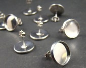 20% OFF SALE - 20pcs Silver  Earring Posts With Round 12mm Pad EA320