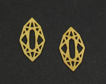 Exclusive - 10pcs Raw Brass Diamond Charm / Pendant, Fit For Necklace, Earring, Brooch - TG137