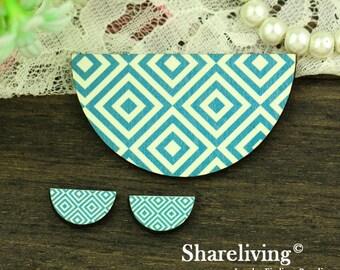 Turquoise Square  Semicircle Wood Charm, Wood Cut Cabochon, Wood Print Set - HWC852N