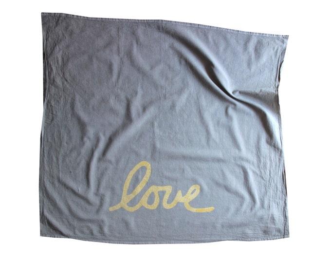 Gray and Gold Flour Sack Dish Towel / Love Dish Towel / Gray and Gold Love Dish Towel / Hand Dyed