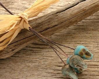 EVERGREEN-TURQUOISE - SPIKE Headpins - Handmade Lampwork Head Pins - 4 Headpins