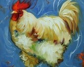 Rooster 819 12x12 inch animal portrait original oil painting by Roz