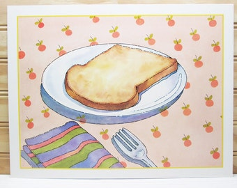 Vintage School Poster National Dairy Council Print Toast Illustration Breakfast Food 1987