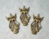 3 Brass Angel Charms 19mm x 35mm