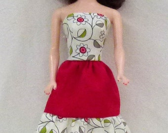 """11.5"""" fashion doll clothes - floral and red dress"""
