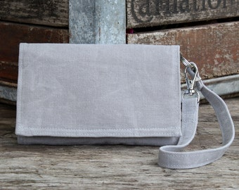 Waxed Canvas Cell Phone Wallet Wristlet with Removable Strap, iPhone 6 Wristlet, Galaxy Wallet / Light Gray Waxed Canvas