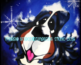bernese mountain dog berner bmd snow lush winter catching snowflakes black dog mutt  12x12 maggie brudos painting Original whimsical DOG art