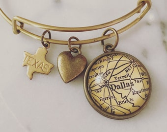 Dallas Map Charm Bangle Bracelet - Personalized Map Jewelry - Stacked Bangle - Texas - State Love - Terrell - Lone Star State - Wanderlust