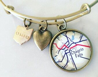 Chagrin Falls Ohio Map Charm Bangle Bracelet - Personalized Map Jewelry - Midwest - Ohio - Buckeye State - Hometown Pride