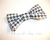Bowtie - Clip-on Black and White HOUNDSTOOTH - Unisex Adult and Child